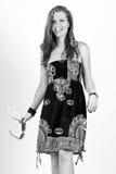 Jeune femme entre les bulles Photo stock