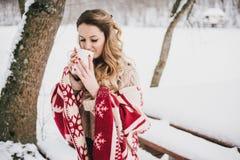 Jeune femme enveloppée dans la couverture buvant du thé chaud dans la forêt neigeuse Photographie stock libre de droits
