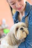 Jeune femme et chien de portrait dans le magasin d'animal familier Images stock