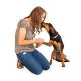 Jeune femme et chien mélangé de race Photos stock