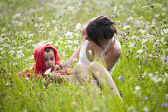 Jeune femme et enfant   Images libres de droits