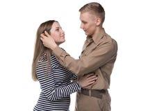 Jeune femme et homme blond dans l'amour Photos libres de droits
