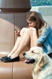Jeune femme et son golden retriever de chien en parc un jour d'été Image stock