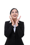 Jeune femme Excited d'affaires recherchant Photographie stock libre de droits