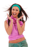 Jeune femme Excited et stupéfait Photos stock