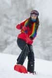 Jeune femme extérieure en hiver Image libre de droits