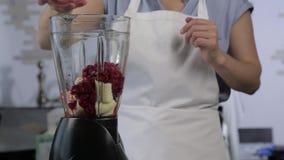 Jeune femme faisant cuire un cocktail de fruit et de baie dans un mélangeur Consommation saine, faisant cuire, nourriture v?g?tar clips vidéos