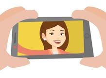 Jeune femme faisant l'illustration de vecteur de selfie Photo stock