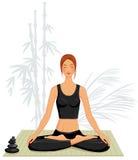 Jeune femme faisant le yoga illustration de vecteur