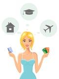 Jeune femme gaie avec des cartes de crédit illustration stock