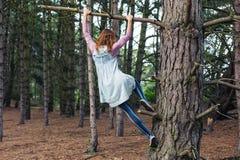 Jeune femme grimpant à un arbre Image libre de droits