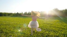 Jeune femme heureuse courant sur le pré un jour ensoleillé d'automne banque de vidéos