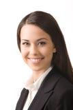 Jeune femme heureuse d'affaires Photo stock