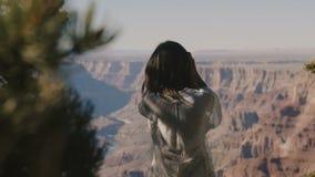 Jeune femme heureuse de voyageur de vue arrière appréciant se refléter épique incroyable de vue panoramique de Grand Canyon, touc banque de vidéos
