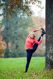 Jeune femme heureuse faisant le yoga en parc image stock