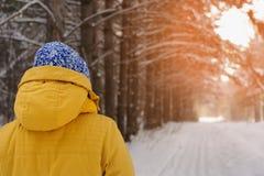 Jeune femme heureuse marchant en parc en hiver Image stock