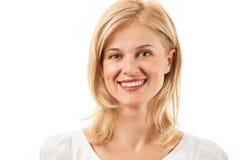Jeune femme heureuse souriant au-dessus du blanc photographie stock libre de droits