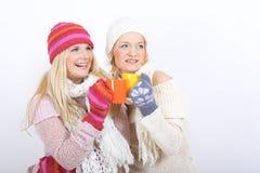 Jeune femme heureux de l'hiver deux avec la cuvette de thé Photo stock