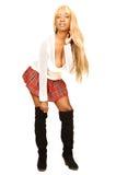 Jeune femme jamaïquaine dans la jupe rouge courte 91. Images stock