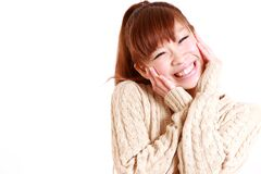 Jeune femme japonaise heureuse Photos stock