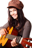Jeune femme jouant la guitare Images libres de droits