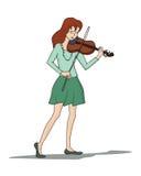Jeune femme jouant le violon Images stock