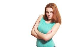Jeune femme méfiante fâchée Photo stock