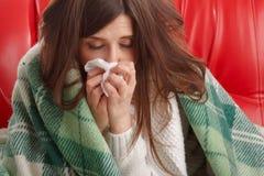 Jeune femme malade Image libre de droits