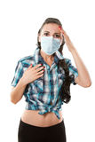 Jeune femme malade. Allergie. Migraine image stock