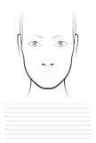 Jeune femme 15 Maquilleur Blank de diagramme de visage descripteur illustration libre de droits