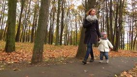 Jeune femme marchant avec son bébé en parc d'automne Soeurs retenant des mains Tir de steadicam de mouvement lent banque de vidéos