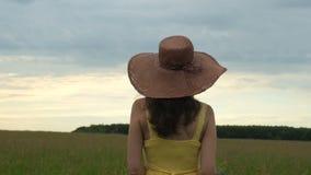 Jeune femme marchant heureusement par un champ vert au jour ensoleillé banque de vidéos