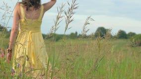 Jeune femme marchant heureusement par un champ vert au jour ensoleillé, 4k clips vidéos
