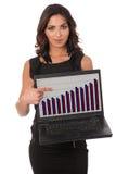 Jeune femme mignonne d'affaires avec l'ordinateur portatif photo libre de droits