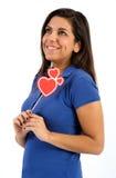 Jeune femme mignonne rêvant de l'amour Photographie stock libre de droits