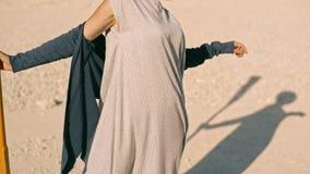 Jeune femme mince avec une palette contre les montagnes Rêve fantastique clips vidéos