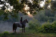 Jeune femme montant un cheval blanc sur un beau paysage Lac clair au brouillard de matin Lever de soleil images stock