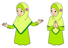 Jeune femme musulmane avec des expressions du visage illustration stock
