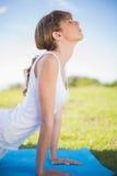 Jeune femme naturelle s'étirant sur son tapis Photographie stock libre de droits