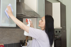 Jeune femme nettoyant les meubles images stock