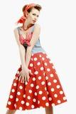 Jeune femme Pin- dans le style d'Américain de vintage Image libre de droits