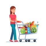 Jeune femme poussant le caddie de supermarché illustration de vecteur