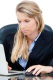 Jeune femme professionnelle d'affaires travaillant au bureau Image stock