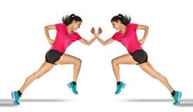 Femme de sport commençant le fonctionnement. Effet de miroir. photo libre de droits
