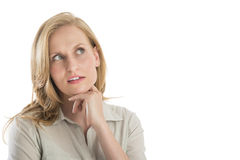 Jeune femme réfléchie regardant loin Photos libres de droits