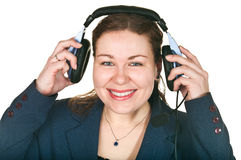 Jeune femme riant d'opérateur heureux Photographie stock libre de droits