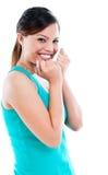 Jeune femme riant nerveusement Photos stock
