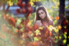 Jeune femme romantique dans la veste en cuir brune au-dessus du portrait d'automne de fond Jolie fille posant en parc avec la tas photos stock