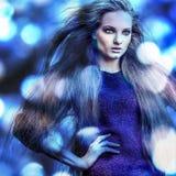 Jeune femme romantique sensuelle de beauté. Style multicolore d'art de bruit. Photographie stock