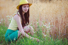 Jeune femme s'asseyant près du champ d'avoine et sélectionnant des fleurs Photos stock